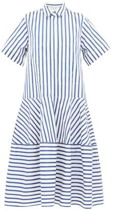 Lee Mathews - Ottilie Striped Cotton-poplin Midi Shirtdress - Womens - Blue White