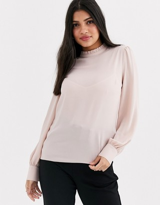 New Look frill high neck detail top in tan