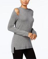 Kensie Cold-Shoulder Mock-Turtleneck Sweater