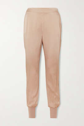 Stella McCartney + Net Sustain Julia Crochet-trimmed Satin Track Pants - Beige