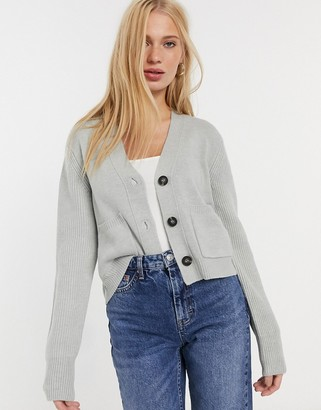 French Connection Babysoft Cropped Cardigan in Light Grey