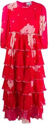 Ganni Pleated Floral Print Tiered Dress