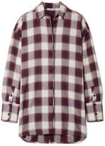 Elizabeth and James Clive Oversized Checked Cotton Shirt - Purple