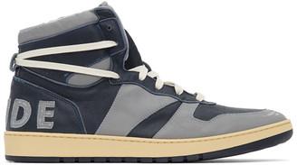 Rhude Grey and Navy Rhecess Georgetown Hi Sneakers