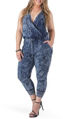 Standards & Practices Estelle Surplice Crop Jumpsuit (Plus Size)