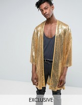 Reclaimed Vintage Inspired Kimono In Gold Sequin In Reg Fit