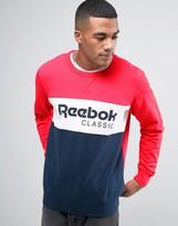 Reebok Archive Stripe Crew Sweatshirt In Red BK3831