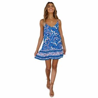 StarLifey Women Floral Summer Spaghetti Strap V Neck Short Dress Boho Swing Ruffle Beach Dress Blue