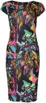 VIP Womens Cap Sleeved Birds & Feathers Midi Dress (4/6 (uk), )