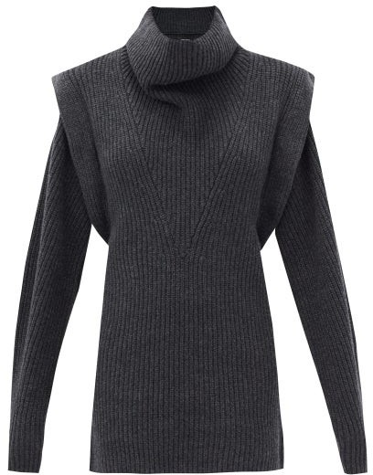 Isabel Marant Prewitt Exaggerated-shoulder Cashmere-blend Dress - Dark Grey
