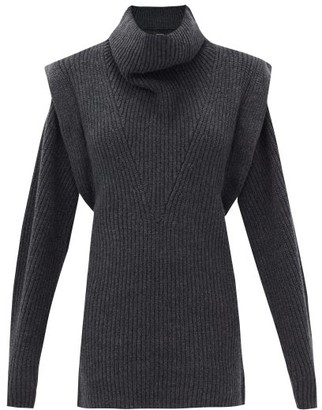 Isabel Marant Prewitt Exaggerated-shoulder Cashmere-blend Dress - Dark Grey