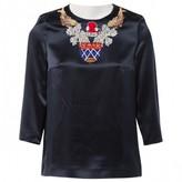 Mary Katrantzou Navy Silk Top for Women