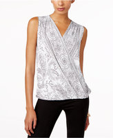 INC International Concepts Printed Surplice Top, Only at Macy's