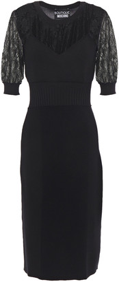Boutique Moschino Lace-layered Knitted Dress