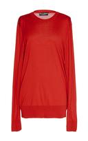 Dolce & Gabbana Silk Round Neck Red Sweater