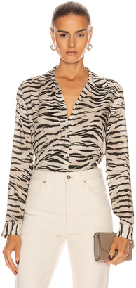 L'Agence Holly Long Sleeve Blouse in Coconut Husk | FWRD