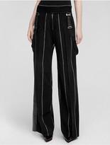 Calvin Klein Collection Wool Pinstripe Wide Leg Trouser
