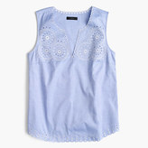 J.Crew Tall embroidered circles sleeveless top in french blue