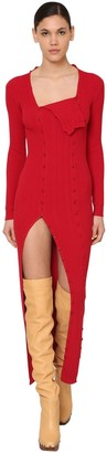 Jacquemus Button Down Viscose Rib Knit Dress