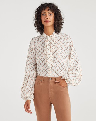 7 For All Mankind Tie Neck Blouse in Soft White Status Chain Print