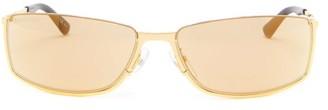 Balenciaga Slim Rectangular Metal Sunglasses - Mens - Gold