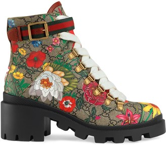 Gucci Flora print 57mm ankle boots