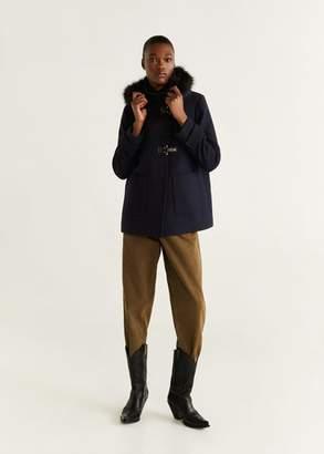 MANGO Faux fur hooded wool coat dark navy - XXS - Women