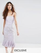 Warehouse Strapless Premium Lace Dress