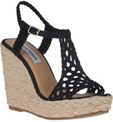 STEVE MADDEN Manngo Wedge Espadrille Black Fabric