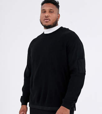 Asos Design DESIGN plus knitted ribbed jumper with woven panels in black