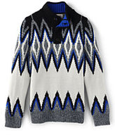 Classic Boys Graphic Fair Isle Mock Neck Sweater-Glitter Bear Face