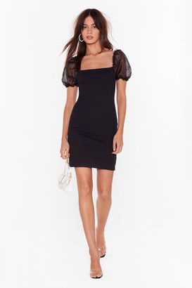 Nasty Gal Womens Puff Lover Fitted Mini Dress - black - 8