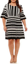 Studio 1 Elbow Sleeve Stripe Fit & Flare Dress-Plus