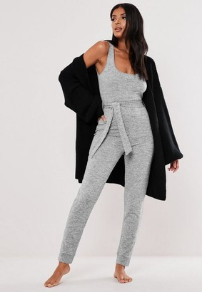 Missguided Soft Knit Tie Waist Loungewear Playsuit