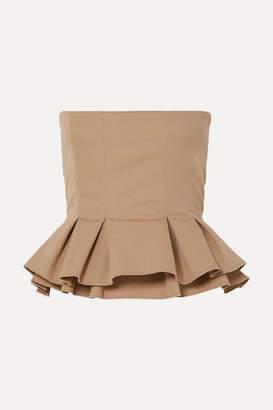 Brock Collection Cotton-poplin Peplum Bustier Top - Beige