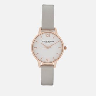 Olivia Burton Women's White Dial Midi Watch - Grey/Rose Gold