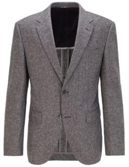 BOSS Regular-fit jacket in a tweed wool blend
