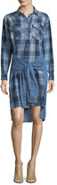 Current/Elliott The Twist High-Low Shirt-Tie Plaid Denim Dress