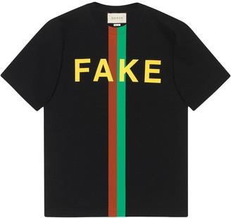 Gucci Fake/Not print organic-cotton T-shirt