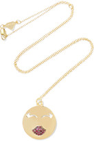 Alison Lou Mwa! 14-karat Gold Ruby Necklace - one size