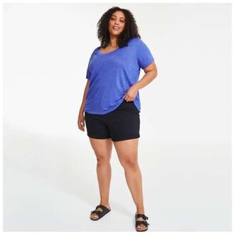 Joe Fresh Women+ Linen Tee, Blue (Size 1X)