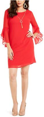 Thalia Sodi Flared-Sleeve Necklace Dress