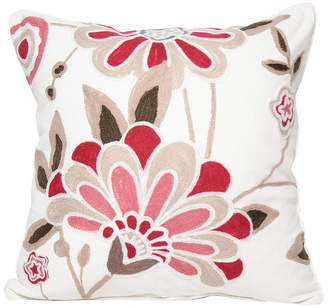 """Collection 18 Manor Luxe Floral Crewel Emboridery Pillow Collection, 18"""" x 18"""""""