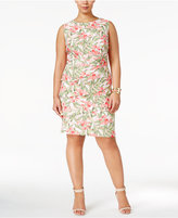 Connected Plus Size Floral-Print Tiered Sheath Dress
