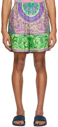 Versace Green and Multicolor Silk Shorts