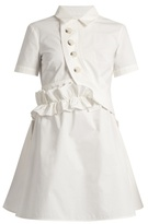 Self-Portrait Ruffled V-back cotton-poplin dress