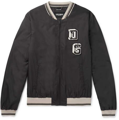 Dolce & Gabbana Appliquéd Shell Bomber Jacket