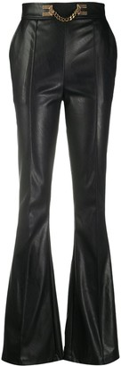 Elisabetta Franchi Flared Embellished Chain Trousers
