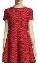 Armani Collezioni Jacquard Short-Sleeve Bolero, Matisse Red