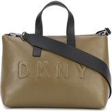 DKNY debossed logo shoulder bag - women - Leather/Cotton - One Size